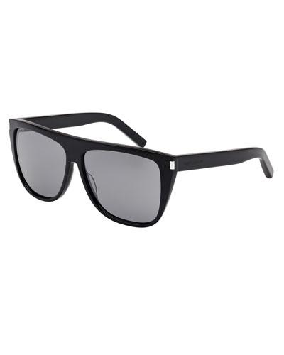 Mirrored Flat-Top Sunglasses, Black