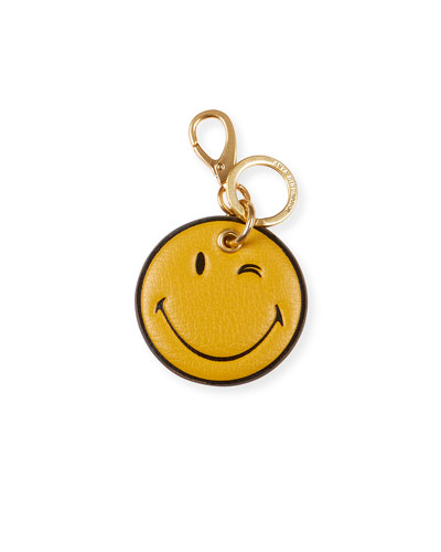 Wink Leather Key Ring, Yellow