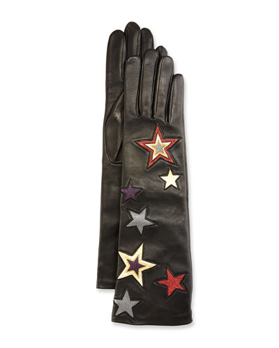 Star-Embroidered Leather Gloves, Black