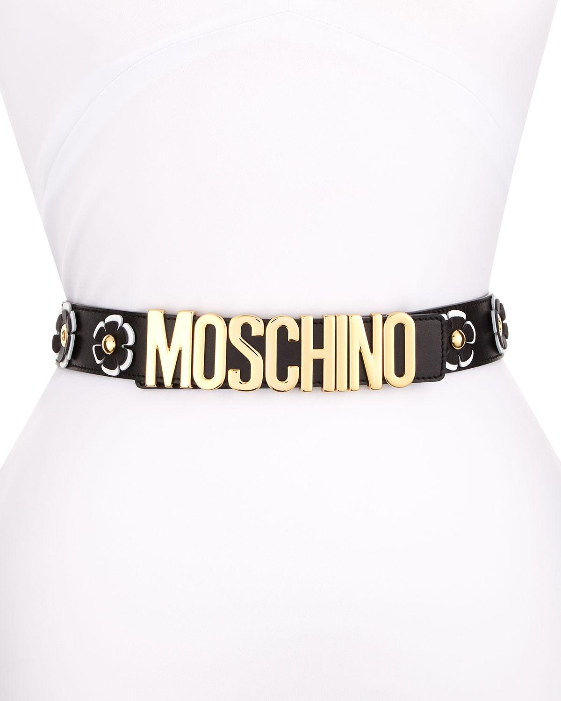 Floral Leather Logo Belt, Black/White