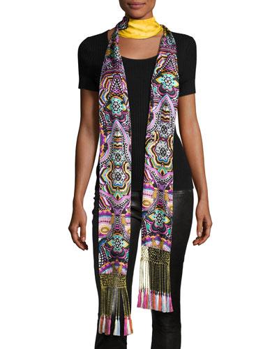 Long Floral Silk Fringe Scarf, Gold/Multicolor
