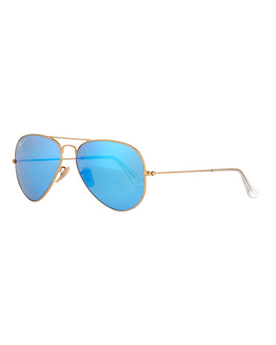 Mirror Aviator Sunglasses, Golden/Blue