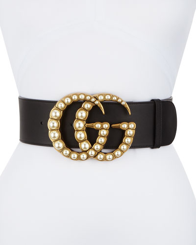 Wide Leather Belt w/ Pearlescent Beads, Black/Cream