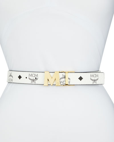 Reversible Coated Canvas Logo Belt, White