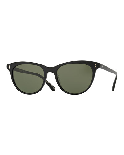 Jardinette Monochromatic Square Sunglasses, Black