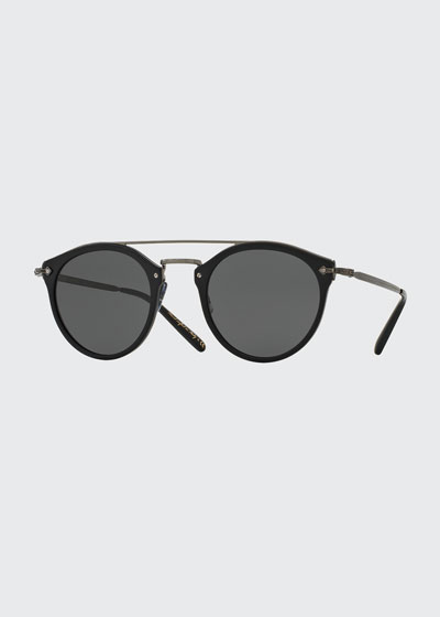Remick Monochromatic Brow-Bar Sunglasses, Black
