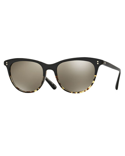Jardinette Mirrored Square Sunglasses, Black