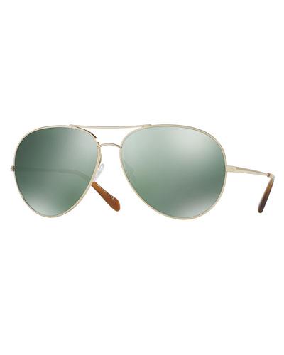 Sayer Mirrored Aviator Sunglasses, Green