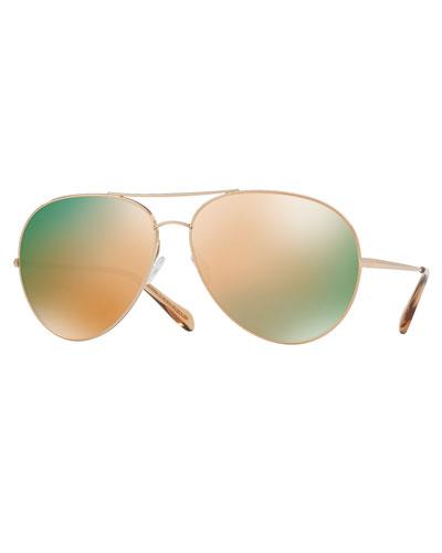 Sayer Mirrored Aviator Sunglasses, Rose Gold