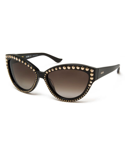 Beaded Gradient Cat-Eye Sunglasses, Black/Gold