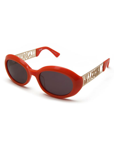 Laser-Cut Monochromatic Oval Sunglasses, Orange/Gold