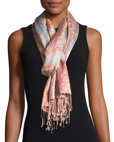 Sharab Paisley Silk Scarf, Pink