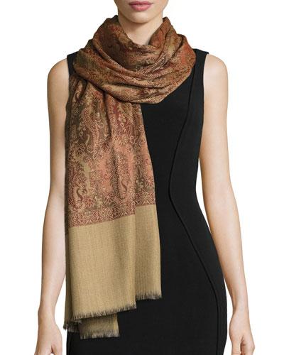 Sehrab Paisley Wool Shawl, Dark Orange