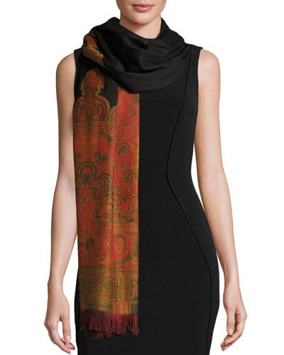 Lightweight Wool Paisley Shawl, Black
