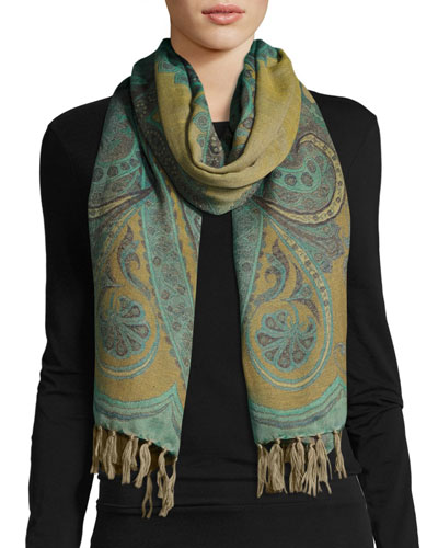 Desiree Paisley Wool Stole, Light Blue