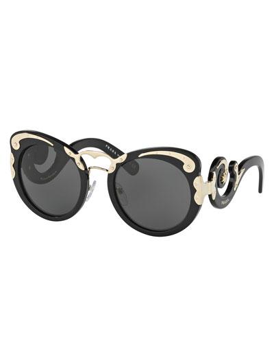 Monochromatic Butterfly Scroll Sunglasses, Black