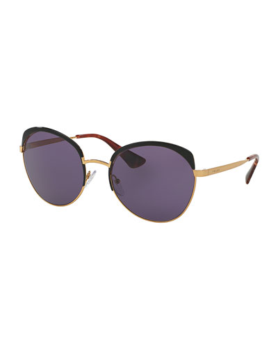 Monochromatic Inlay Butterfly Sunglasses, Black