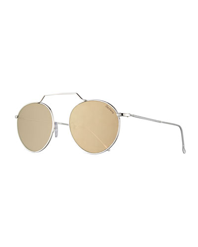 Wynwood III Round Mirrored Sunglasses, Gray