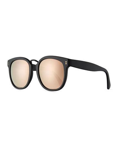 Sardinia Mirrored Square Sunglasses, Black