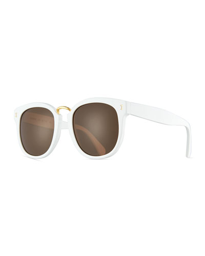 Sardinia Monochromatic Square Sunglasses, White/Brown