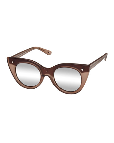 Nefertiti Two-Tone Cat-Eye Sunglasses, Matte Ecru