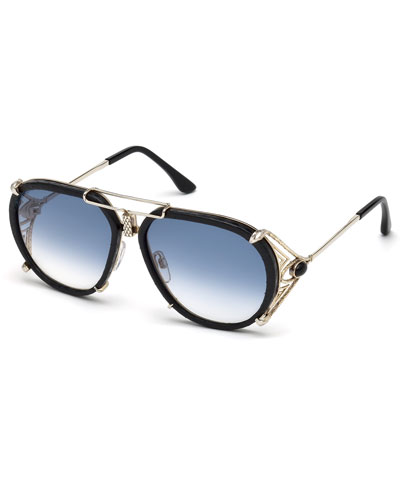Snakeskin Aviator Sunglasses, Gold/Brown