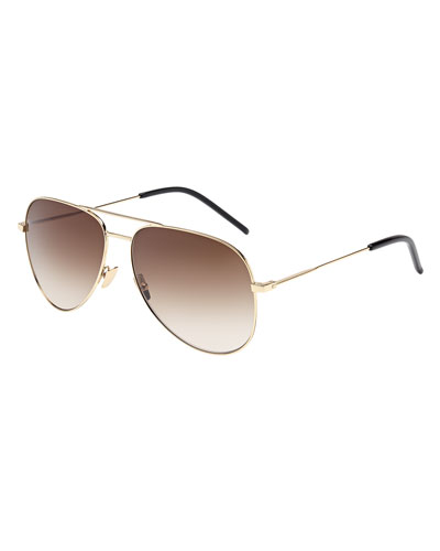 Gradient Metal Aviator Sunglasses, Gold