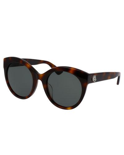 Monochromatic Oversized Rounded Cat-Eye Sunglasses, Tortoise