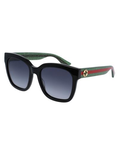 Glittered Oversized Rectangular Universal-Fit Sunglasses, Black/Green/Red