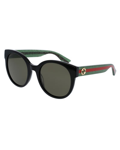 Glittered Monochromatic Round Sunglasses, Black/Green/Red