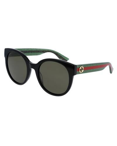 Glittered Monochromatic Round Sunglasses, Black/Green/Red