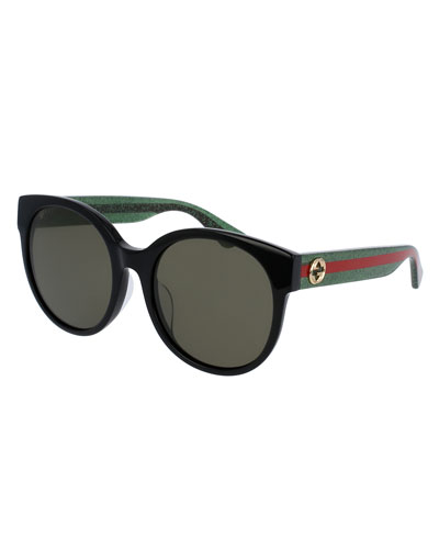 Glittered Monochromatic Round Universal-Fit Sunglasses, Tortoise/Green/Red