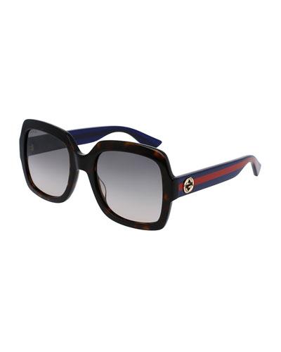 Classic Oversized Rectangular Sunglasses, Tortoise/Blue/Red