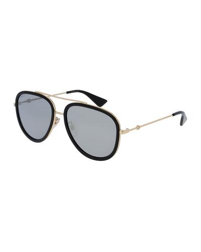 Mirrored Monochromatic Acetate-Trim Aviator Sunglasses, Gold/Black