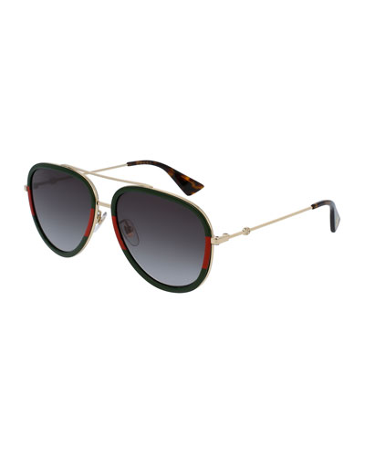 Gradient Web Aviator Sunglasses, Gold/Green/Red