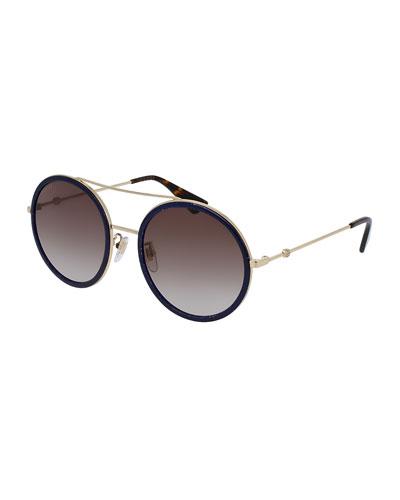 Glittered Round Metal Sunglasses, Gold/Blue