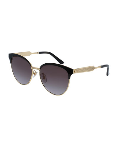 Engraved Metal Semi-Rimless Cat-Eye Sunglasses, Black/Gold