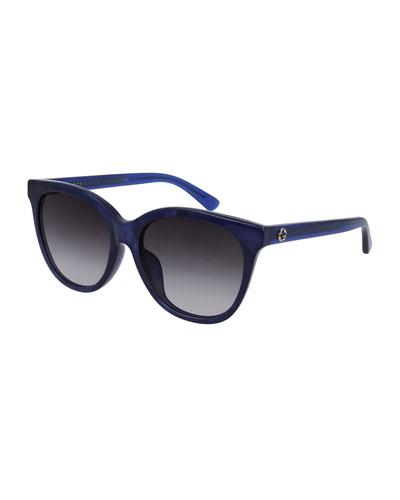 Gradient Square Acetate Sunglasses, Blue