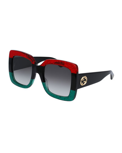 Cat-eye Glittered Acetate And Gold-tone Sunglasses - Green Gucci x0pcgSPfR1