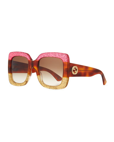 Glittered Gradient Oversized Square Sunglasses, Purple