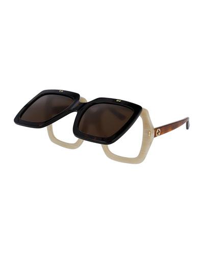 Oversized Square Flip-Up Sunglasses, Brown