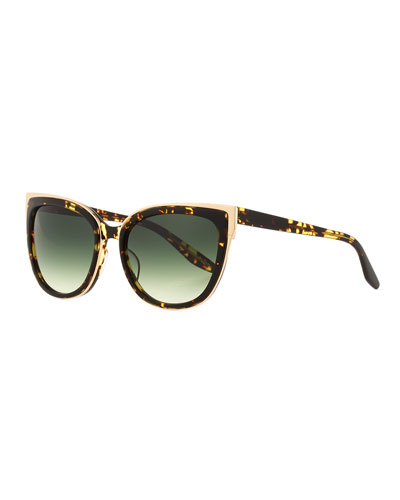 Winette Gradient Cat-Eye Sunglasses, Havana