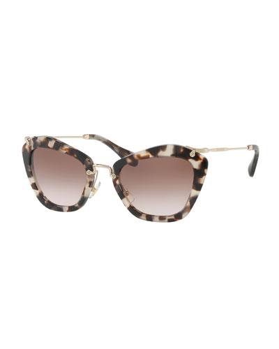 Cat-Eye Acetate Sunglasses, Black