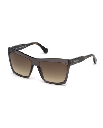 Square Gradient Flash Sunglasses, Black