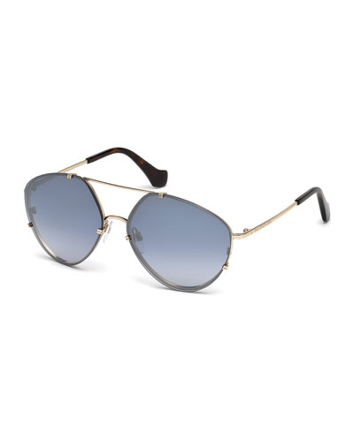 Metal Geometric Aviator Flash Sunglasses, Gold