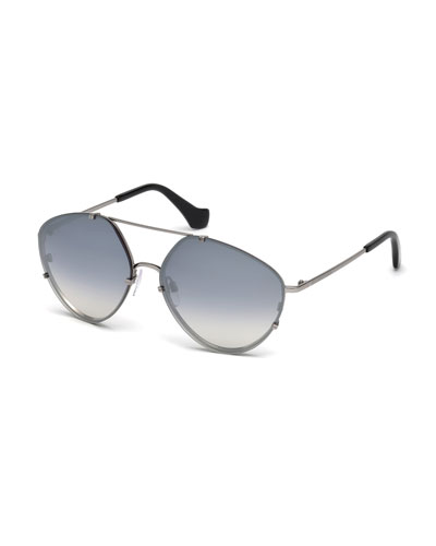 Metal Geometric Aviator Sunglasses, Black