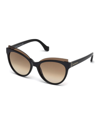 Monochromatic Acetate Cat-Eye Sunglasses, Brown Havana