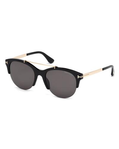Adrenne Monochromatic Semi-Rimless Brow-Bar Sunglasses, Black