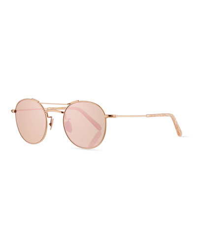 Orleans Mirrored Metal Universal-Fit Sunglasses, Rose Gold