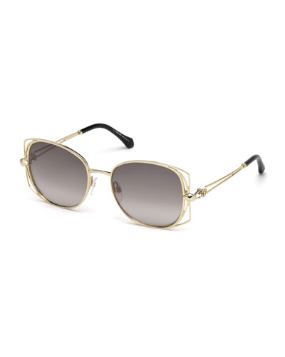 Square Metal Open-Inset Sunglasses, Gold